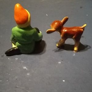 Vintage Accents - Vintage Miniature MZ Ireland gnome & miniature cow